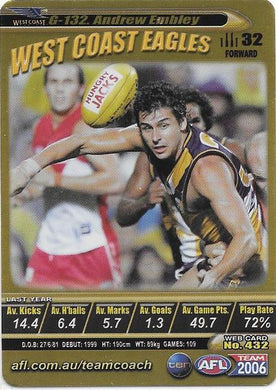 Andrew Embley, Gold card, 2006 Teamcoach AFL