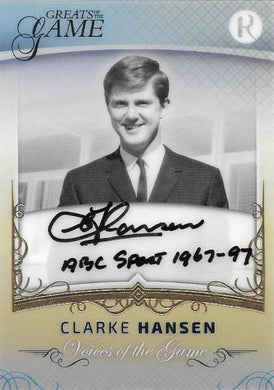 Clarke Hansen, Gold Century Signature, 2017 Regal Football Greats of the Game