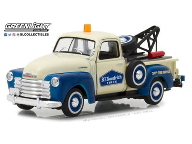 1953 Chevrolet 3100 Tow Truck BF Goodrich, Running on Empty Series, 1:43 Diecast Vehicle