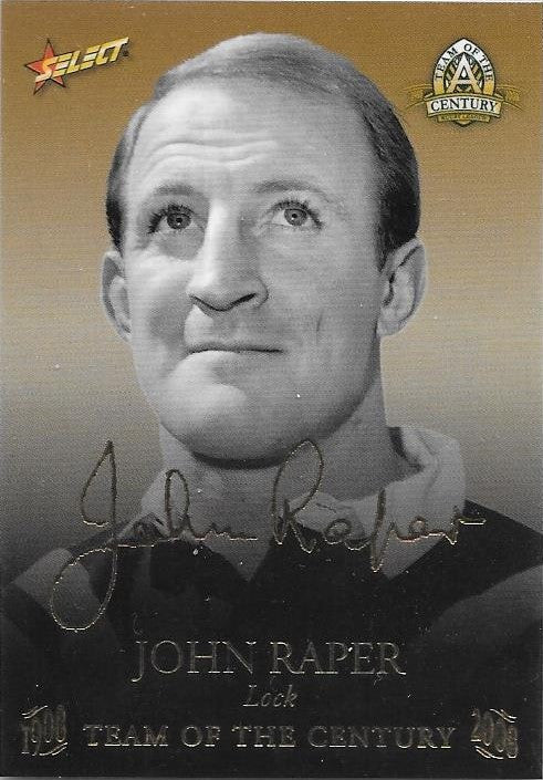 John Raper, TOC Gold Foil Signature, 2008 Select NRL Centenary of Rugby League