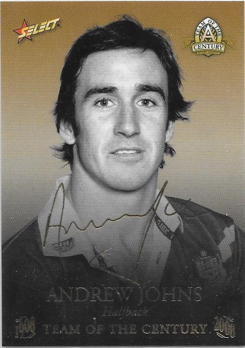 Andrew Johns, TOC Gold Foil Signature, 2008 Select NRL Centenary of Rugby League