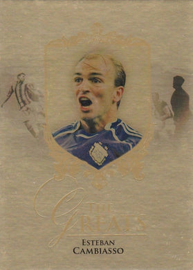 Esteban Cambiasso, The Greats, Gold Parallel, 2016 Futera Unique Soccer