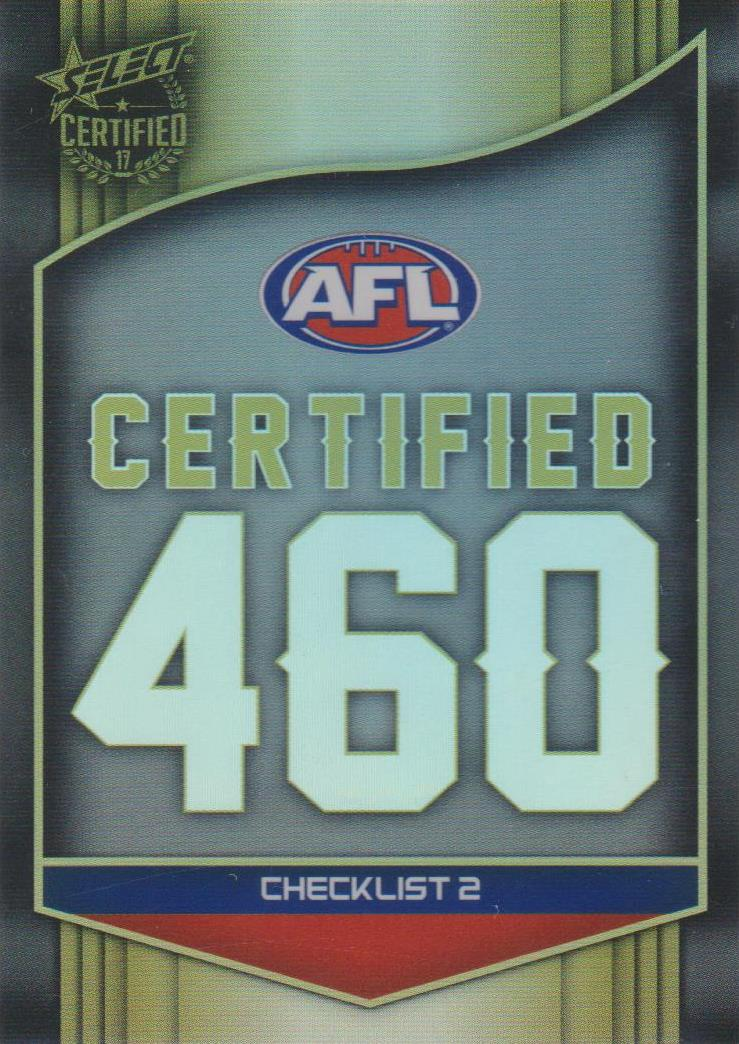 Checklist 2, Certified 460, 2017 Select AFL Certified
