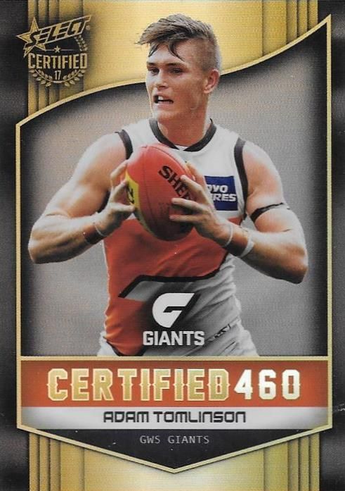 Adam Tomlinson, Certified 460, 2017 Select AFL Certified