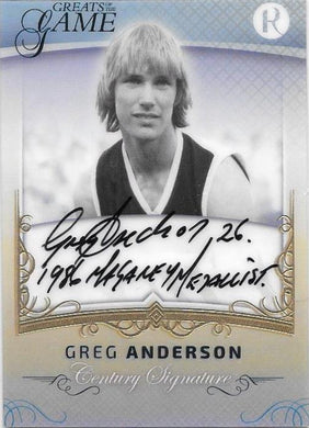 Greg Anderson, Gold Century Signature, 2017 Regal Football Greats of the Game