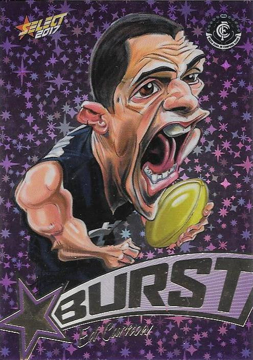 Ed Curnow, Purple Starburst Caricatures, 2017 Select AFL Stars