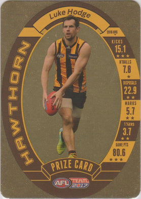 Luke Hodge, Prize Card, 2017 Teamcoach AFL