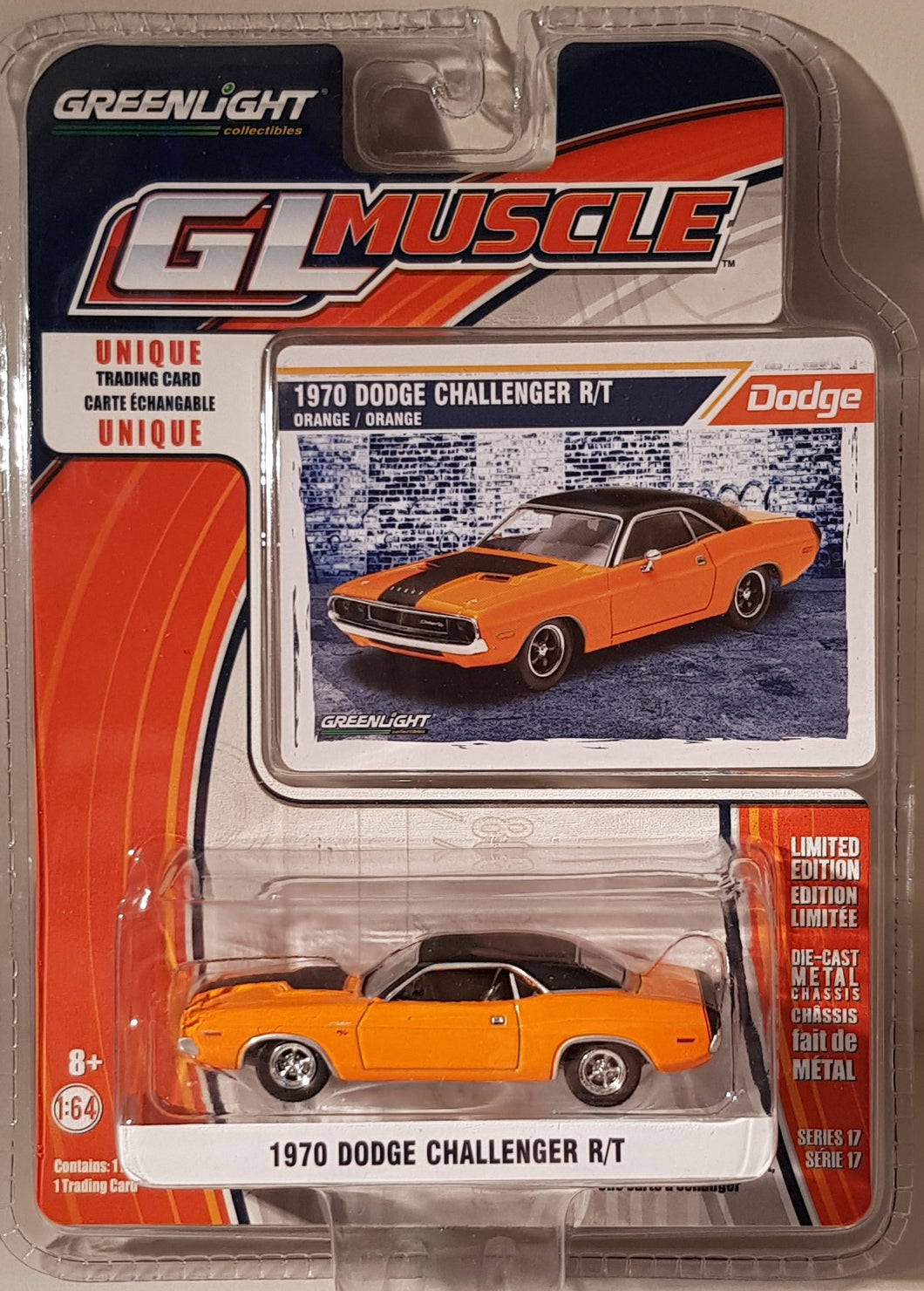 1970 Dodge Challenger R/T, Greenlight GL Muscle, 1:64 Diecast Vehicle