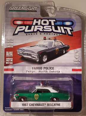 Green Machine, 1967 Chevrolet Biscayne, Hot Pursuit, 1:64 Diecast Vehicle