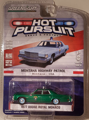 Green Machine, 1977 Dodge Royal Monaco, Hot Pursuit, 1:64 Diecast Vehicle