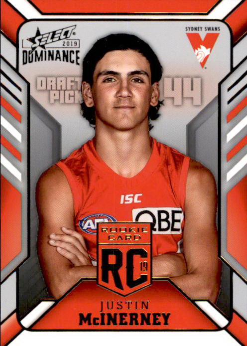 Justin McInerney, Rookie Card RC, 2019 Select AFL Dominance