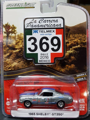 SILVER 1965 Shelby GT350, 368 La Carrera Panamericana, 1:64 Diecast Vehicle