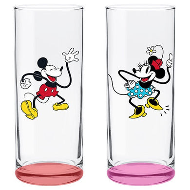 DISNEY - MICKEY AND MINNIE MOUSE HIGHBALL GLASSES SET OF 2