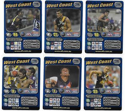 2002 AFL Teamcoach Blue Prize Westcoast Eagles Team Set