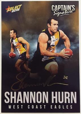 2015 Select AFL, Captains Signature Card, Shannon Hurn, Westcoast Eagles