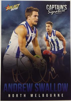 2015 Select AFL, Captains Signature Card, Andrew Swallow, North Kangaroos