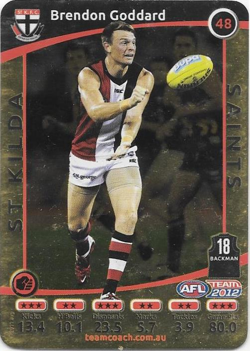 Brendon Goddard, Gold, 2012 Teamcoach AFL