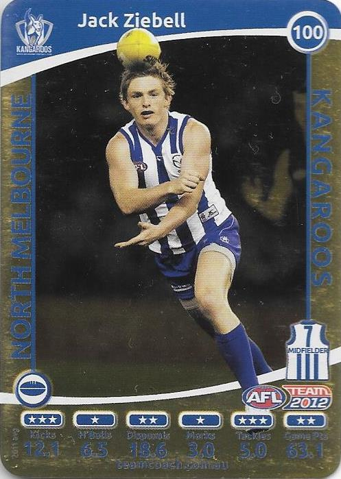 Jack Ziebell, Gold, 2012 Teamcoach AFL