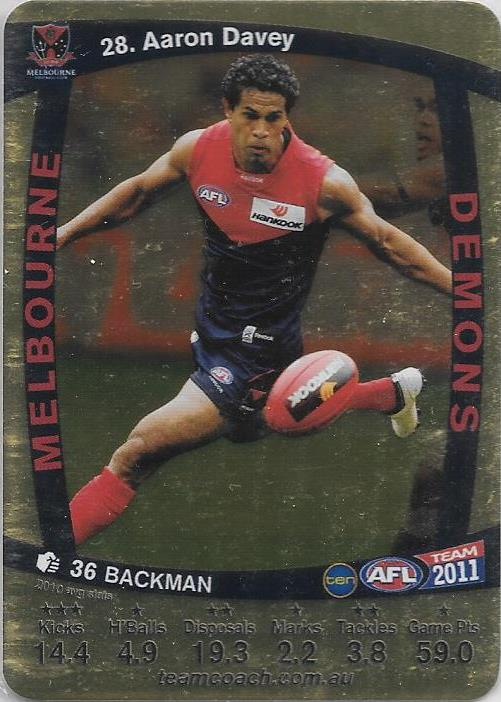 Aaron Davey, Gold, 2011 Teamcoach AFL