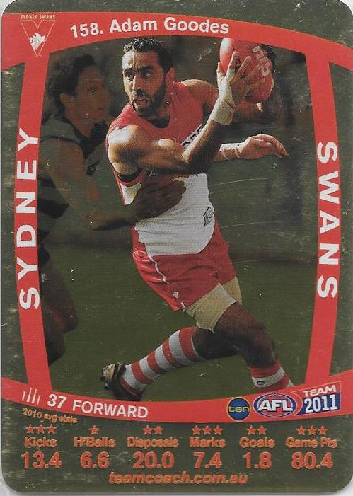 Adam Goodes, Gold, 2011 Teamcoach AFL
