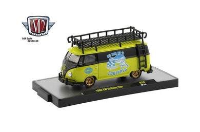 1960 VW Delivery Van Black/Green, EMPI Equipped, M2 Machines, 1:64 Diecast Vehicle