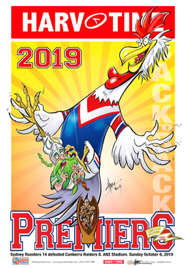 Sydney Roosters, 2019 NRL Premiers Harv Time Poster /750