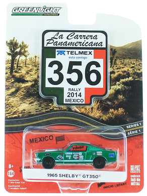 Green Machine 1965 Shelby GT350 La Carrera Panamericana, 1:64 Diecast Vehicle