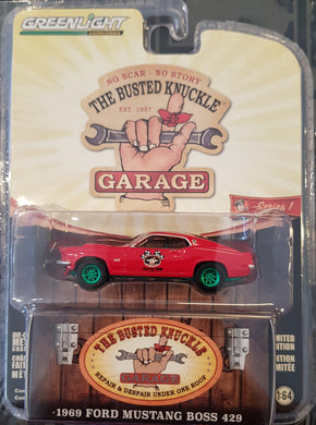 Green Machine, 1969 Ford Mustang BOSS 429 Stock Car Racing, Busted Knuckle Garage, 1:64 Diecast Vehicle
