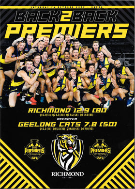 Back to Back, Richmond Tigers 2020 AFL Premiership Wooden Plaque