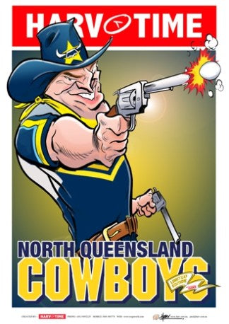 North Queensland Cowboys, NRL Mascot Harv Time Poster