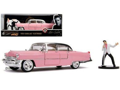 Elvis - Pink 1955 Cadillac Fleetwood, 1:24 Scale Diecast with Figure Hollywood Rides