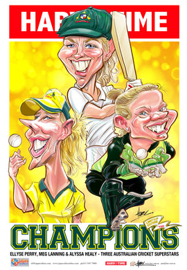 Lanning, Healy & Perry, Champions, Womens Cricket Harv Time Poster