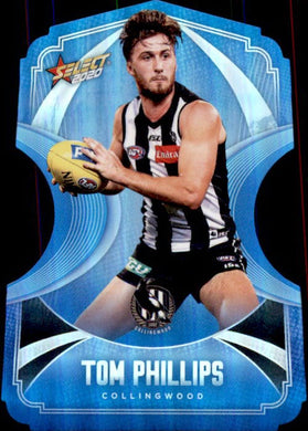 Tom Phillips, Ice Blue Diecuts, 2020 Select AFL Footy Stars