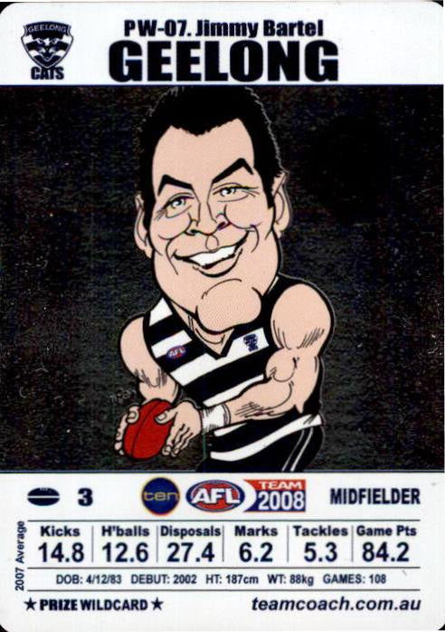 Jimmy Bartel, Brownlow Prize Wildcard, 2008 Teamcoach AFL