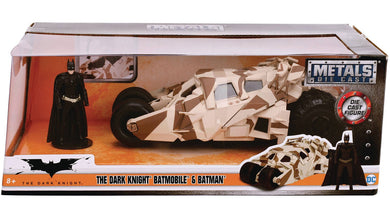 The Dark Knight Batmobile with Batman Figure, Camo Version, 1:24 Diecast Vehicle