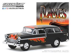 1955 Chevrolet Nomad, Flames Series, 1:64 Diecast Vehicle