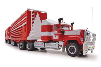 Highway Replicas Mack Truck, Barkly Livestock Road Train PLUS Trailer with Dolly, 1:64 Diecast Vehicle
