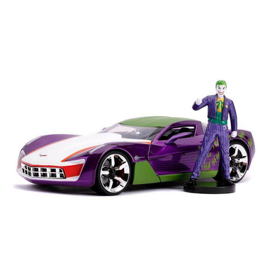 The Joker, with 2009 Corvette Stingray, 1:24 Scale Diecast with Figure Hollywood Ride