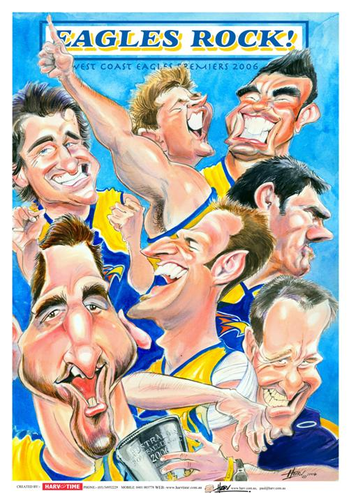 West Coast Eagles, Eagles Rock, Premiers, Harv Time Poster