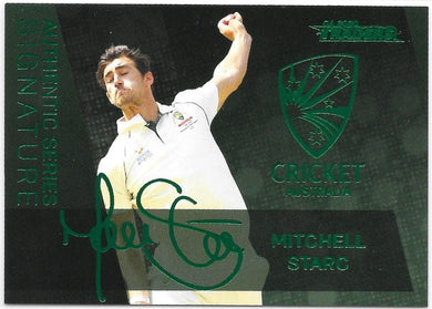 Mitchell Starc, Green Foil Signature, 2020-21 TLA Cricket Australia and BBL