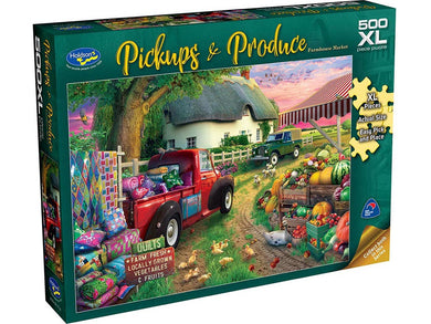 PICKUPS & PRODUCE, Farmhouse Market, 500XL Piece Jigsaw Puzzle