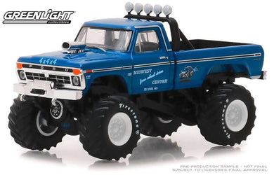 Kings of Crunch Monster Truck, 1974 Ford F-250 Midwest Four Wheel Drive Center, 1:64 Diecast Vehicle