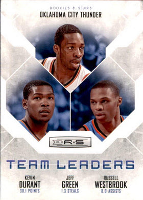 Durant, Green, Westbrook, Team Leaders, 2010-11 Panini Rookies & Stars Basketball NBA