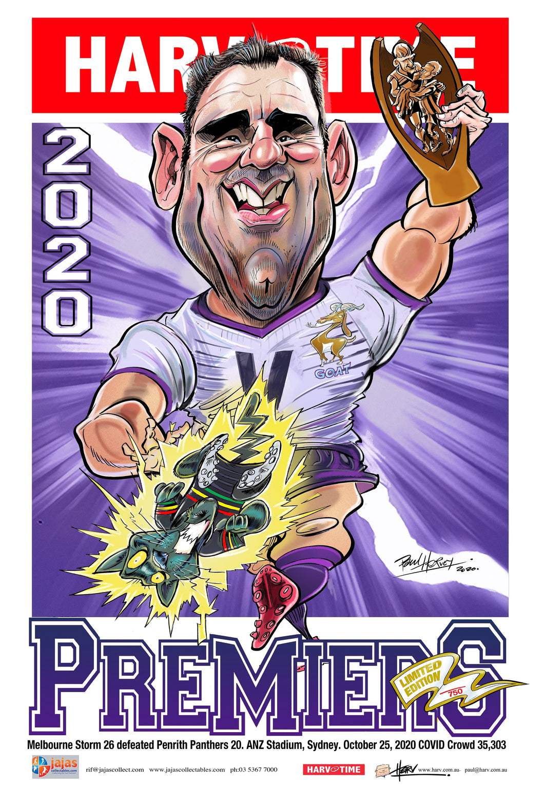Melbourne Storm 2020 NRL Premiers Harv Time Poster, White Jersey