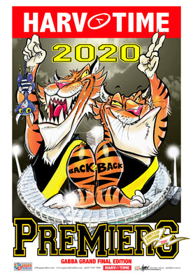 Richmond Tigers 2020 AFL Premiers Game Day Harv Time Poster