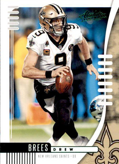 Drew Brees, Green Parallel, 2019 Panini Absolute Football NFL