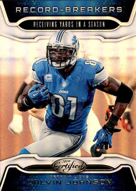 Calvin Johnson, Record Breakers, Gold Team, 2019 Panini Certified Football NFL