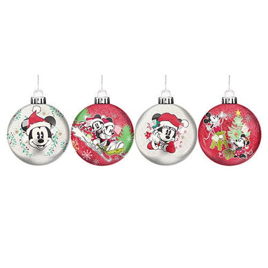 DISNEY MICKEY AND MINNIE MOUSE CHRISTMAS BAUBLES SET OF 4
