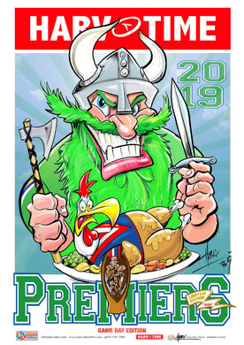 Canberra Raiders, 2019 NRL Premiers Game Day Harv Time Poster