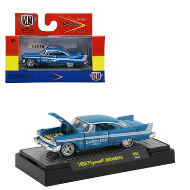 1958 Plymouth Belvedere, Mopar Parts, M2 Machines, 1:64 Diecast Vehicle